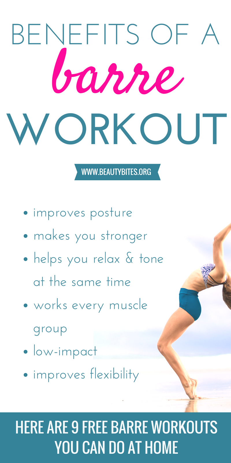 Benefits of barre exercise - improve your strength, posture, feel relaxed and get toned by including barre workouts in your workout plan. I share 9 free barre workouts you can do at home with almost no equipment, try a few and see how you feel! | www.beautybites.org | Healthy Habits & Workout Routines For Women