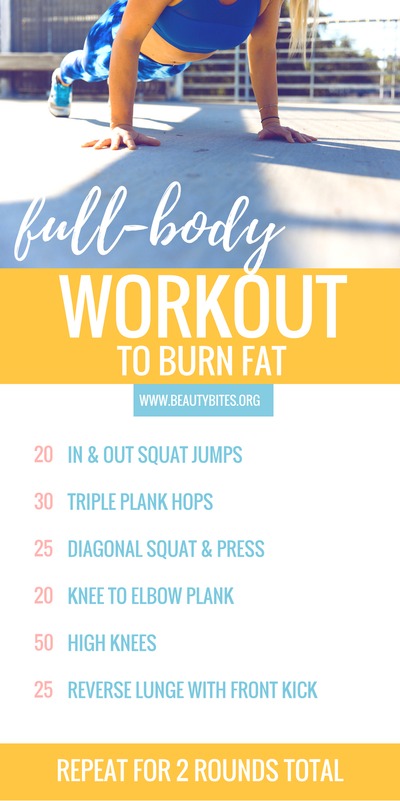 A full-body HIIT workout to lose weight, reduce fat and get toned! I did this workout at home twice: 1st time in 17 min, 2nd time: 15 min! It works your entire body, but I especially felt it in the legs, butt and abs. Record your time to track progress :) | www.beautybites.org