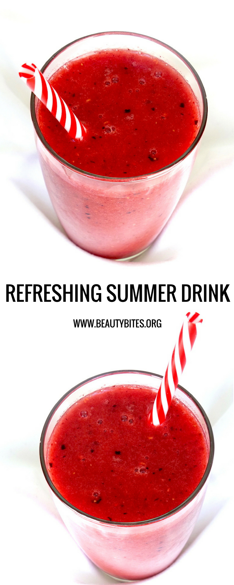 Healthy Watermelon Smoothie Recipe with Strawberries - a tasty and refreshing healthy summer drink   www.beautybites.org