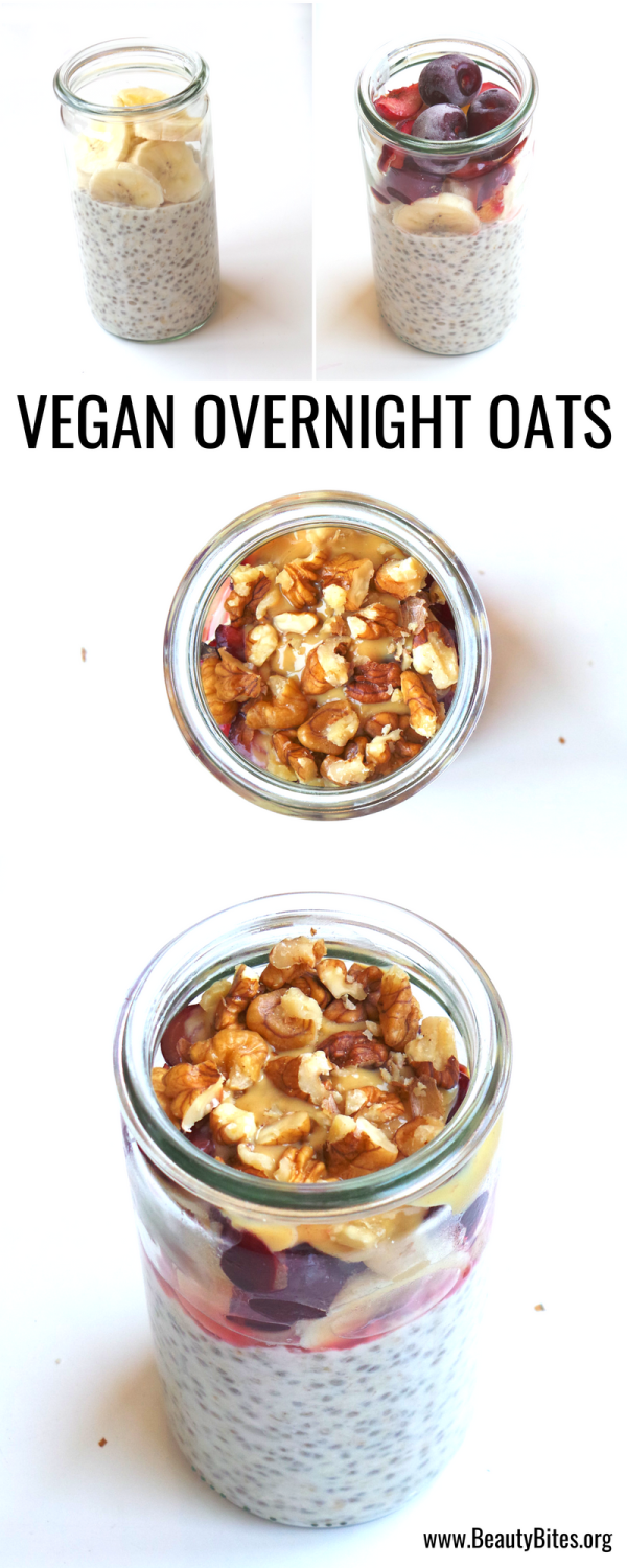 Healthy vegan breakfast recipe - perfect to eat on the go - overnight oats with cherries, banana and nuts! It's quick, nutritious and tastes like dessert! | www.beautybites.org