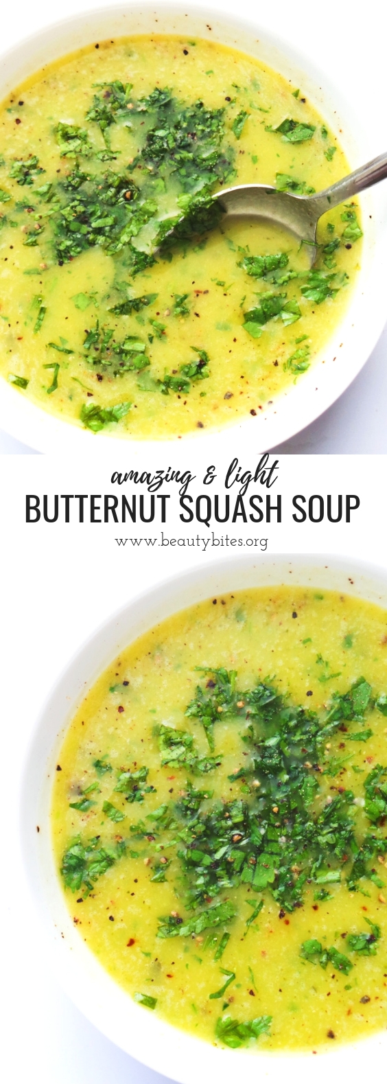 Delicious healthy soup recipe with butternut squash and broccoli! Light, yummy and super easy to make for dinner tonight! This butternut squash and broccoli soup is paleo, vegan and gluten-free!