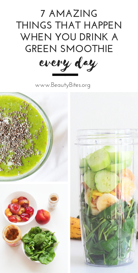 7 things that will happen when you drink a green smoothie every day! Check out the green smoothie health benefits I experienced during the first week of making green smoothies a healthy daily habit!