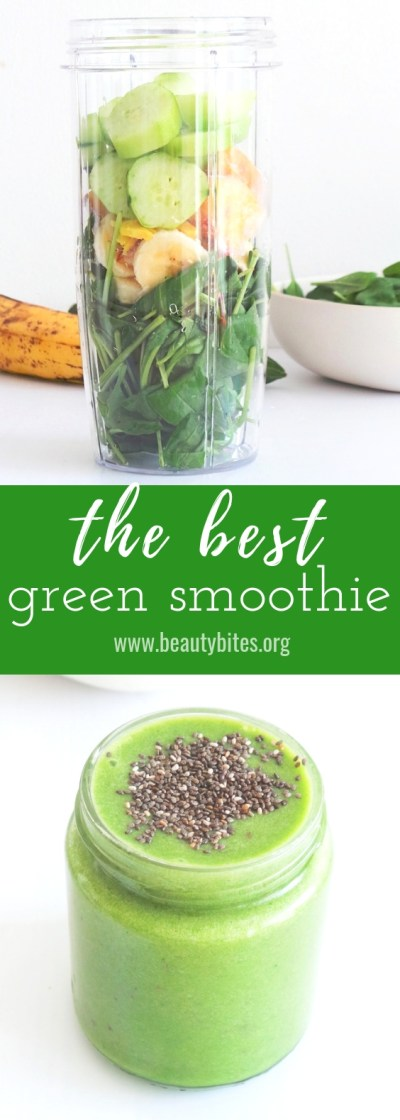 The best green smoothie ever! This healthy breakfast recipe is made with spinach, banana, ginger and a few other easy to find fruits and vegetables! It will help detox your body and make you feel great. Drinking this healthy smoothie daily can also help with weight loss and reducing chronic inflammation, because it contains a number of anti-inflammatory and fat-burning foods. | www.beautybites.org