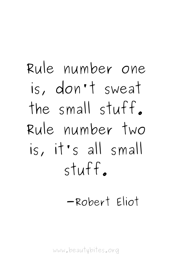 Rule number one is, don't sweat the small stuff. Rule number two is, it's all small stuff.   positive quotes   motivational quotes   funny quotes   Robert Eliot