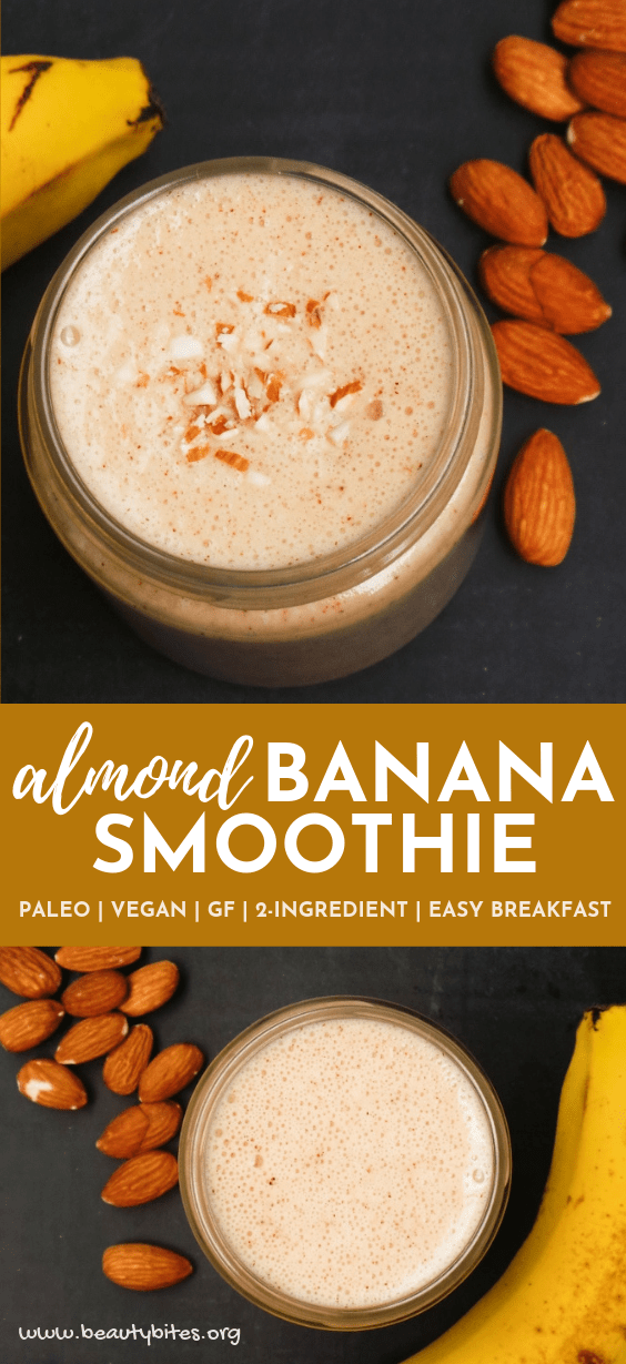 Banana almond smoothie! This is a super easy healthy smoothie for breakfast! It's filling, it's delicious and takes 3 minutes to make. Use frozen bananas to keep it cool and make it even creamier! Super easy healthy breakfast or snack idea - great as a pre-workout or post-workout meal. #smoothie #banana #healthy