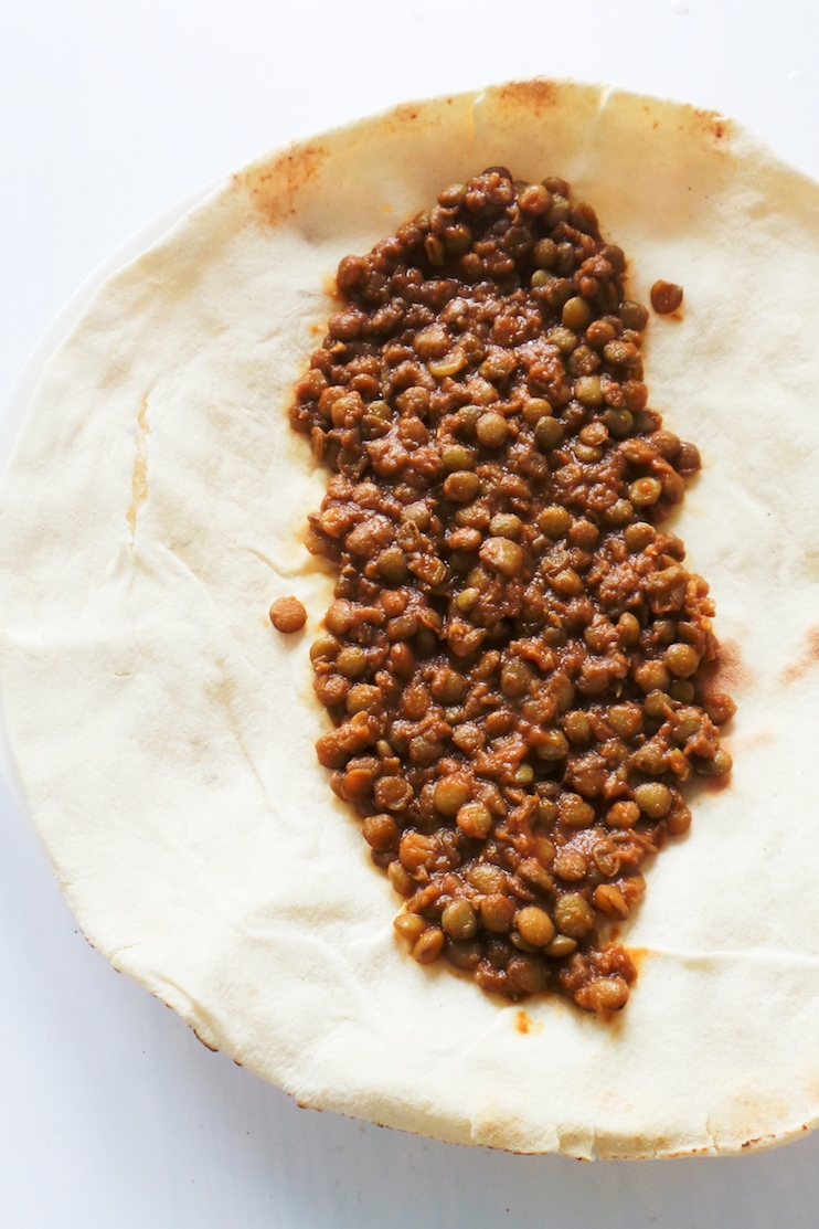 Healthy vegan lentil wraps - a quick lentil recipe that is easy to make for dinner on any night of the week. This plant-based clean eating recipe takes around 30 minutes to make and is simply delicious.