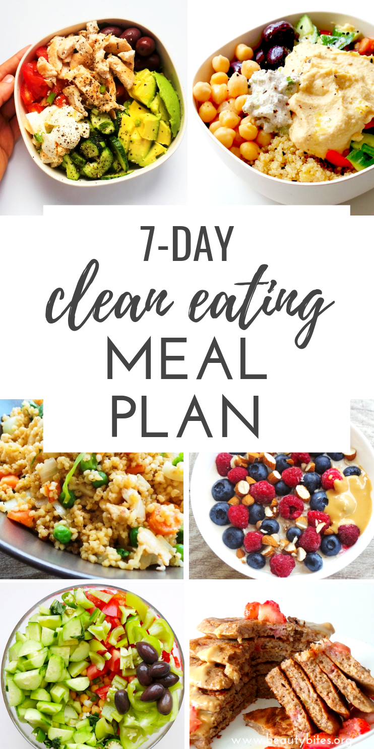 7-Day Clean Eating Meal Plan, feat. clean eating grocery list. Start the 7-Day clean eating challenge, enjoy these healthy recipes to have more energy, lose weight and feel better overall! The plan includes clean eating recipes for breakfast, lunch and dinner and you can meal prep or make ahead many of them. | Clean eating for beginners