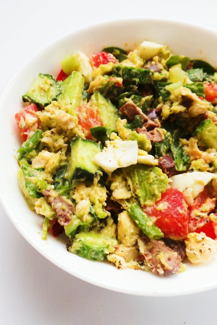 healthy chicken salad with avocado, mashed, no mayo