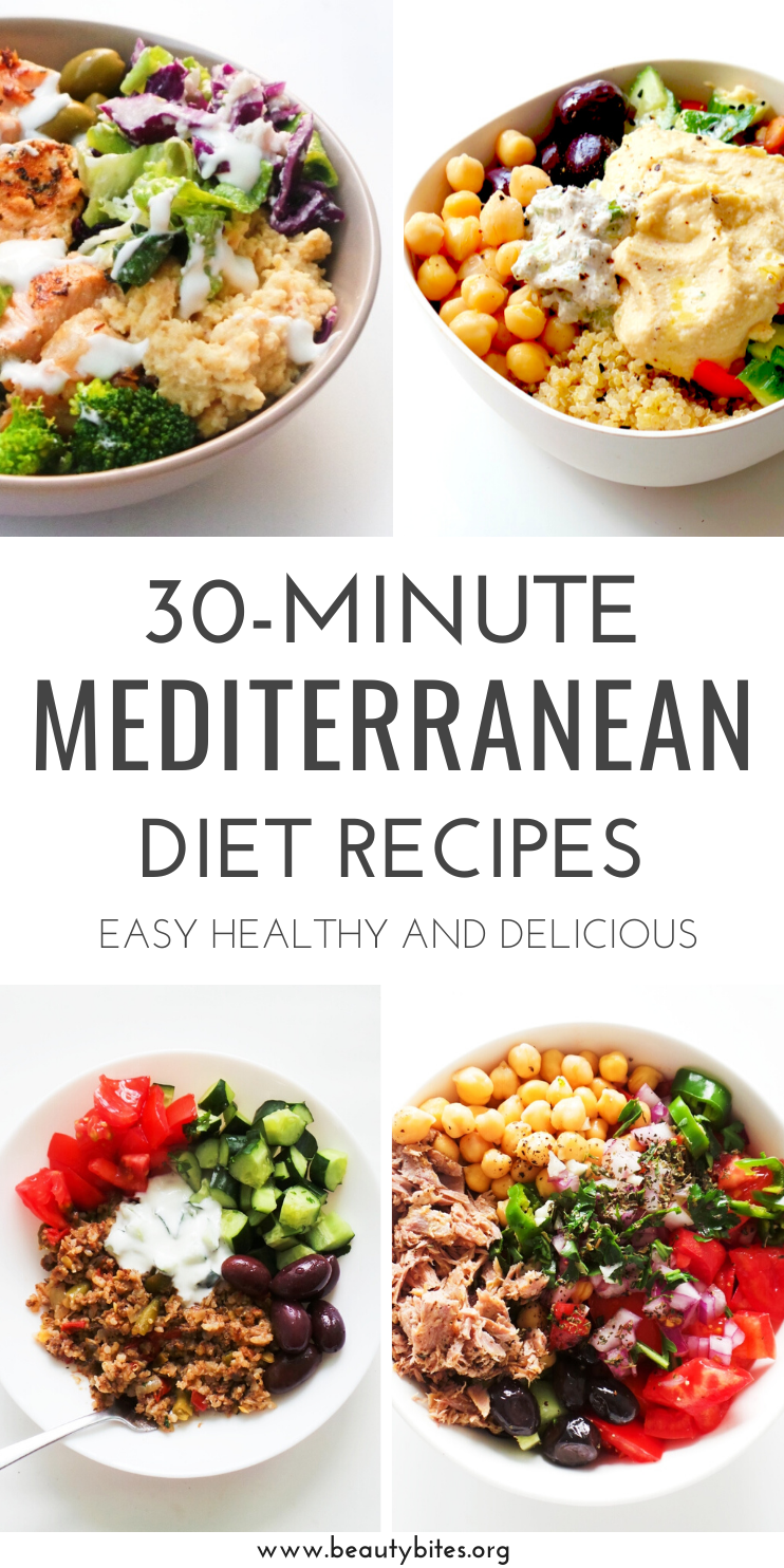 30 quick and easy Mediterranean diet recipes! These 30-minute Mediterranean recipes that you'll love! Try the Mediterranean diet if you want to improve your health and eat clean without restricting yourself!