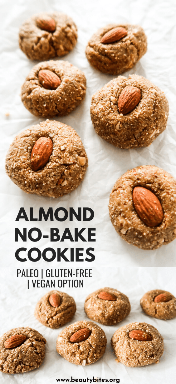 Healthy No-Bake Cookies with almond butter! These paleo no-bake cookies are the perfect healthy treat. They're great as a post- and pre-workout snack as well. This snack recipe is gluten-free, vegan (use maple syrup) and paleo.