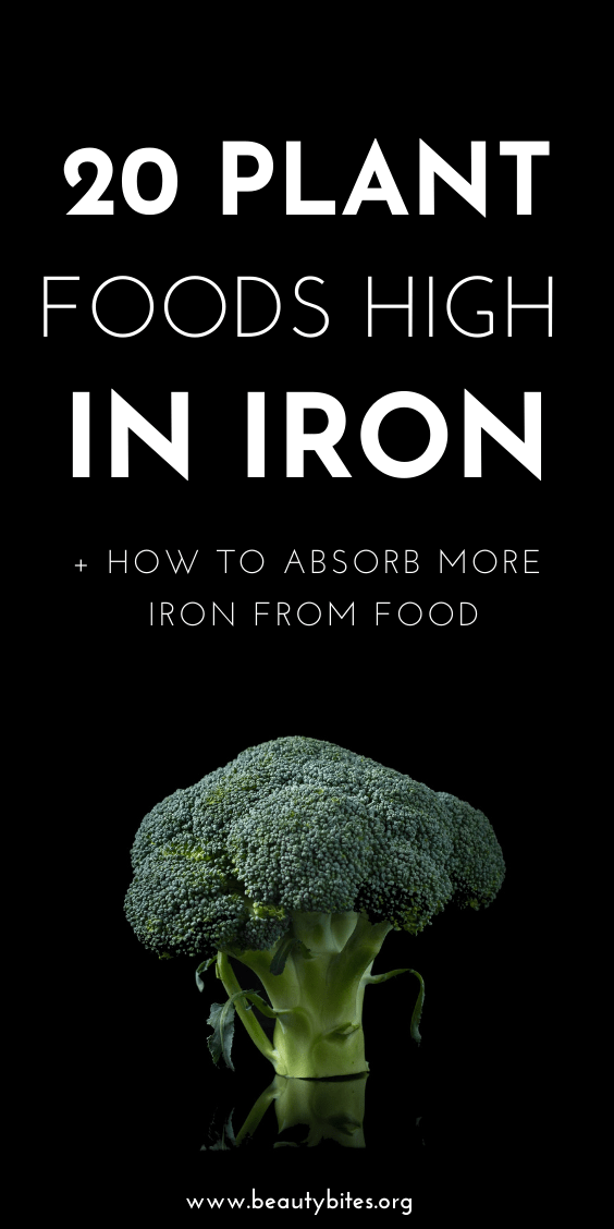 20 Iron rich foods to eat on a vegan or vegetarian diet. The best plant foods high in iron and how to absorb iron better, increasing the bioavailability and functions of iron in the body. Include these high-iron foods in your vegan meals to prevent deficiency and anemia. Clean eating for beginners