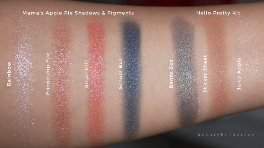 Colourpop x Hello Kitty Mama's Apple Pie Swatches