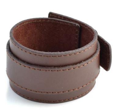Dubbele Grote Bruine Lederen Armband