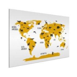 dieren-geel-wereldkaart-op-aluminium