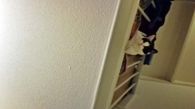 marie boven aan trap