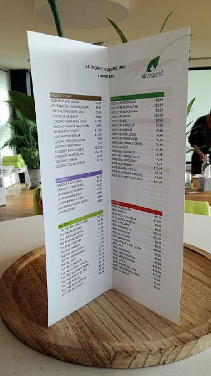 menu dr organic