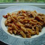 Sausage and Tomato-Cream Pasta up close