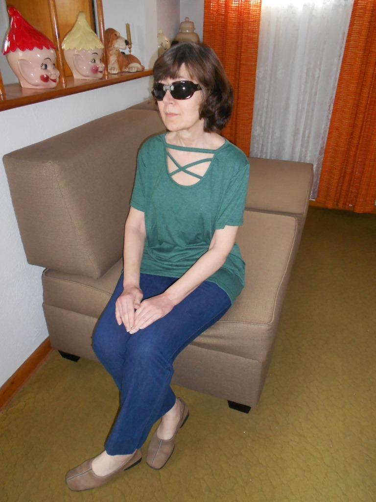 Affordable BUYCHEY Fashion Criss Cross Shirt Sitting