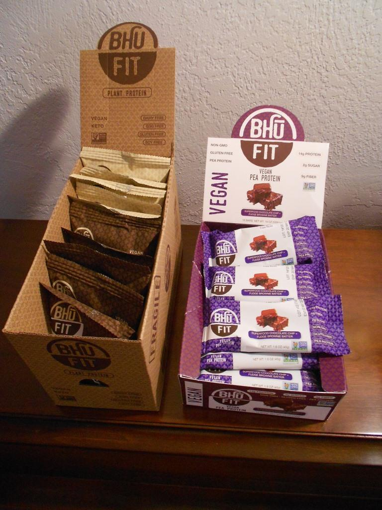 bhu fit vegan protein bars and cookies