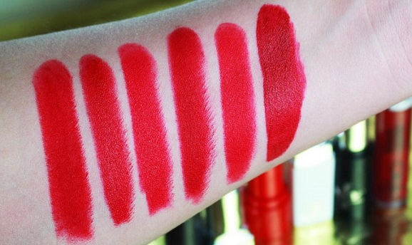 swatches batons vermelhos dupe ruby woo