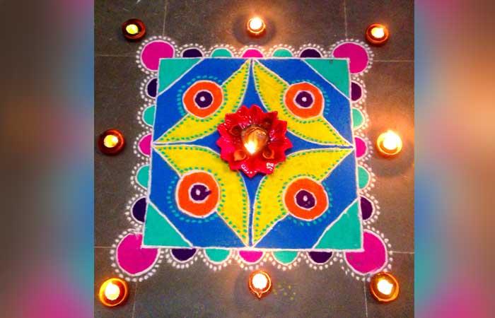 colourful-rangoli-with-diya