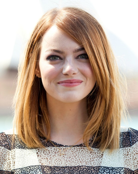 Emma Stone Long Blonde Bob Hairstyle