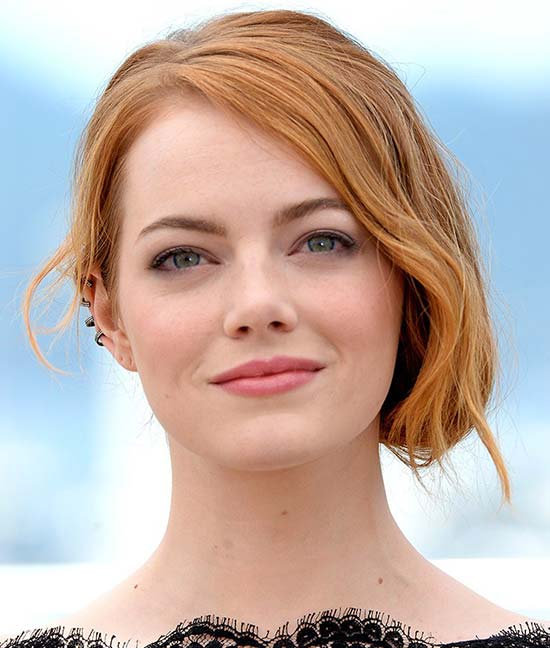 Emma Stone Medium Hairstyles for Round Faces