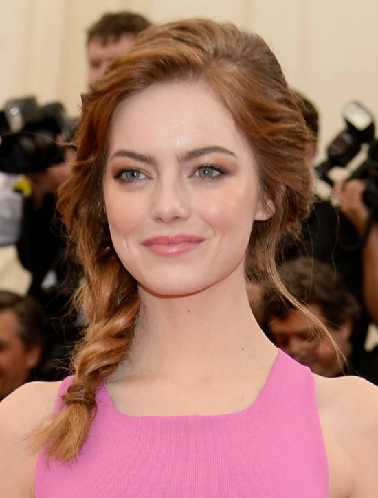 Emma Stone side braids