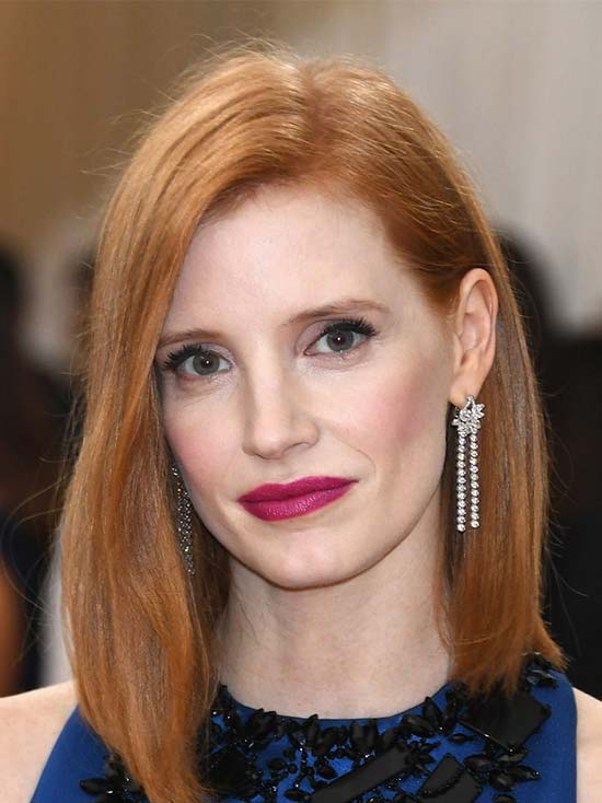 Jessica Chastain Medium Length Haircuts for Thick Hair