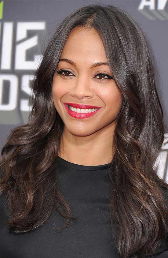 Zoe Saldana Medium Blonde Hairstyles