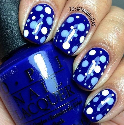 Blue and White Ploka Dot Nail Art