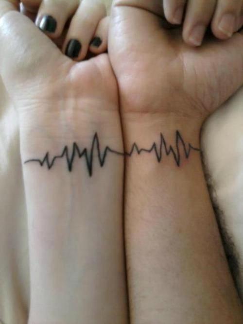 heartbeat couple tattoos