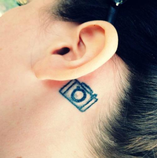 Camera Tattoo on Ear