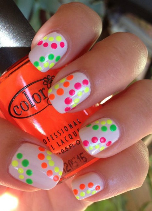 Neon Polka Dot Nail Art
