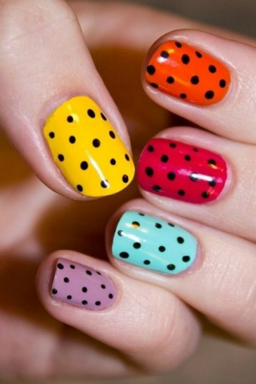 Black Polka Dots Nail Art