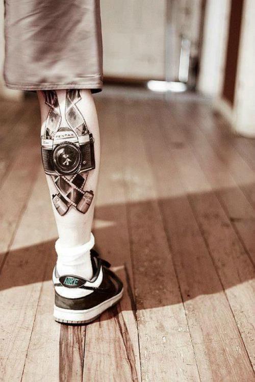Leg Camera Tattoo