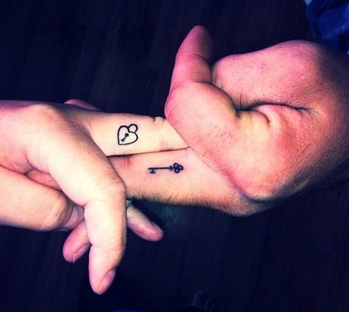 lock and key couple tattoo