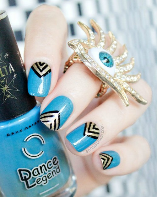Gold and teal Geometric Nail Art