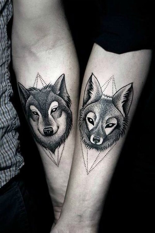 wolf couple tattoo