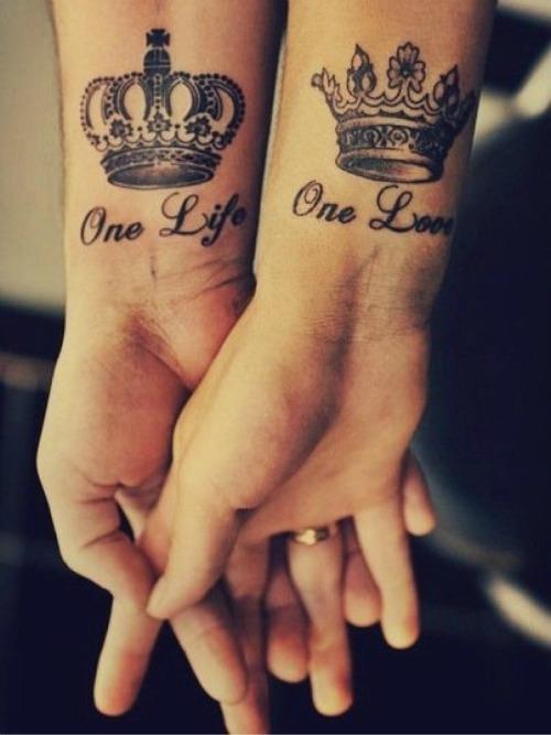 one life one love couple tattoo