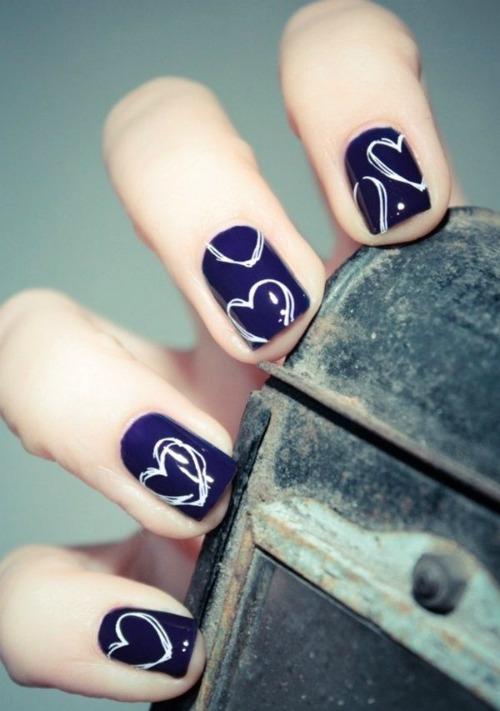 White Gel Valentines Day Nail Art Design