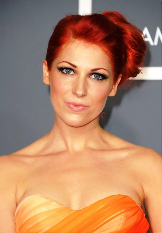 Bonnie Mckee Sleek Red Side Bun Updo