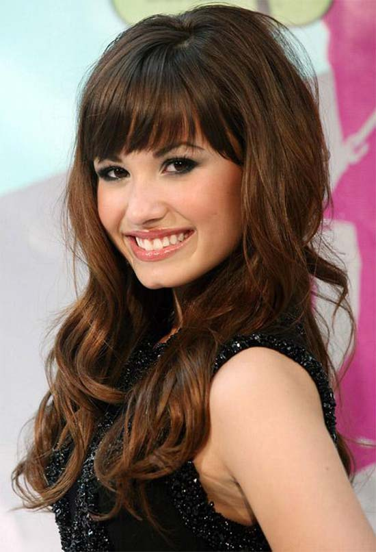 Demi Lovato Curly Hair with Bangs