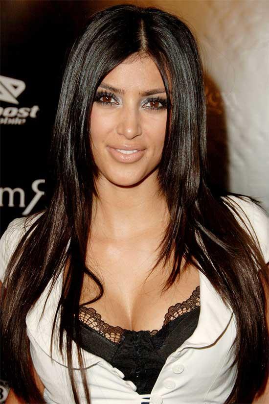 Kim Kardashian long hair with bangs