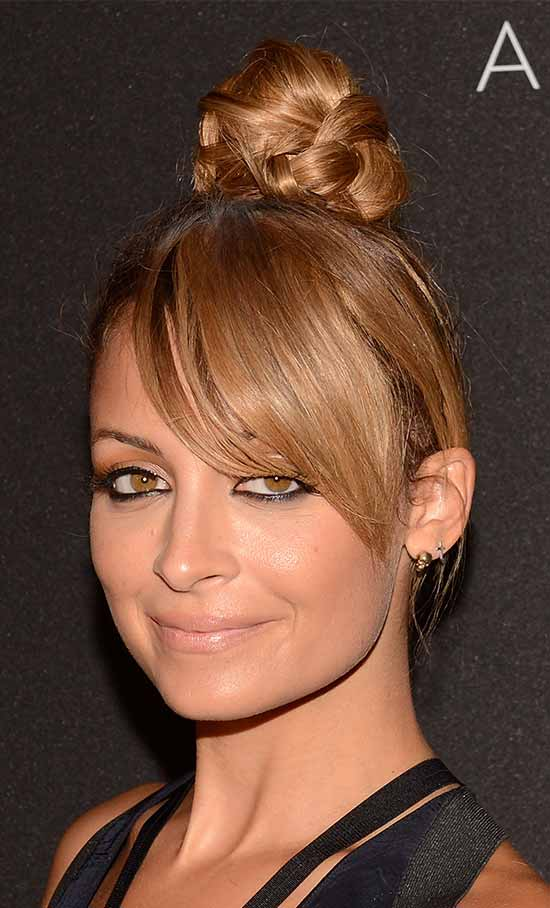 Nicole Richie top knot hair style