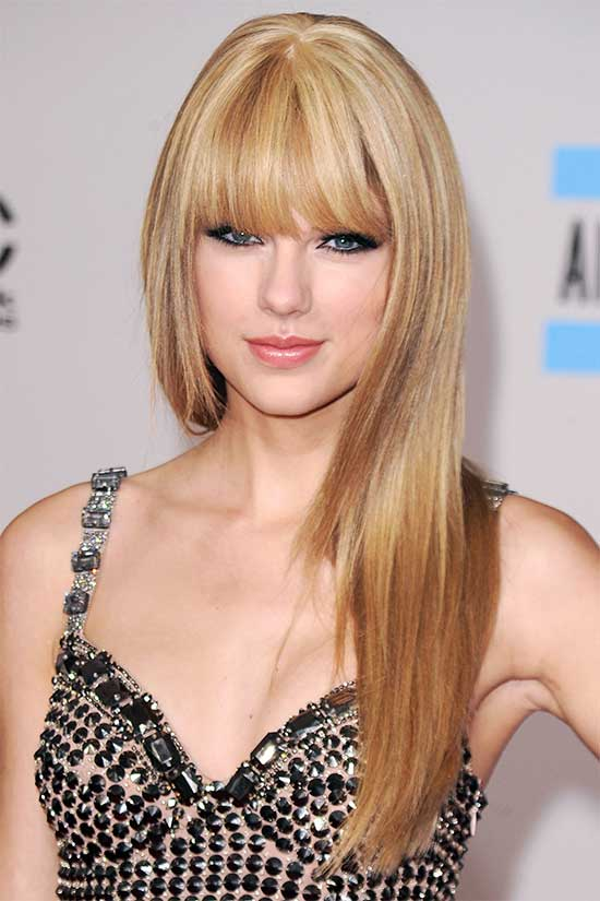 Talyor swift Long Straight Hairstyles with Bangs
