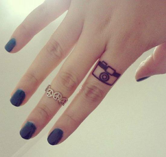 Small Camera Tattoo on Finger