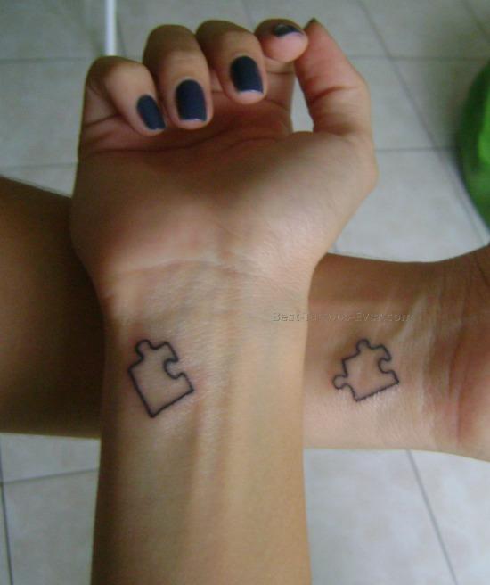Small Puzzle Sister Tattoo Design