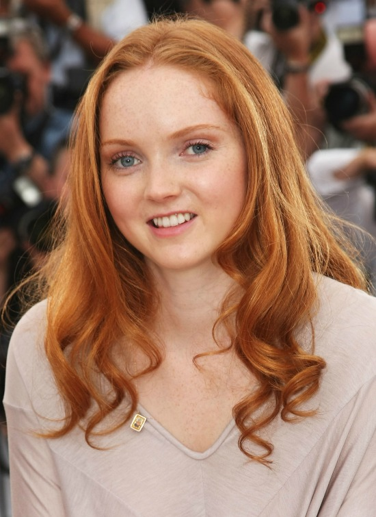 Lily Cole Long Hairstyle with End Curls