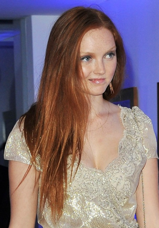 Lily Cole Long Straight Side Parted Hair